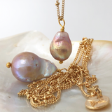 Baroque Pear Pearl on Mini Biba Chain - Mirabelle Jewellery