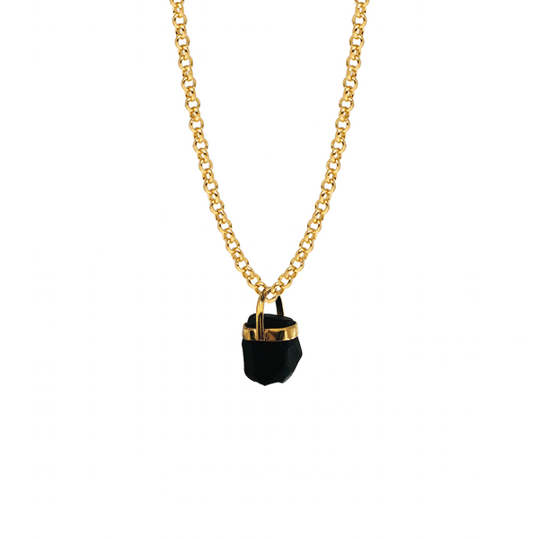 Black Tourmaline Bridge Set Pendant - Mirabelle Jewellery