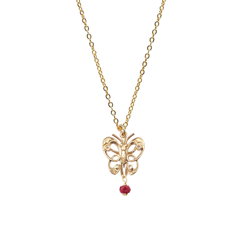 Butterfly Pendant with Ruby - Mirabelle Jewellery
