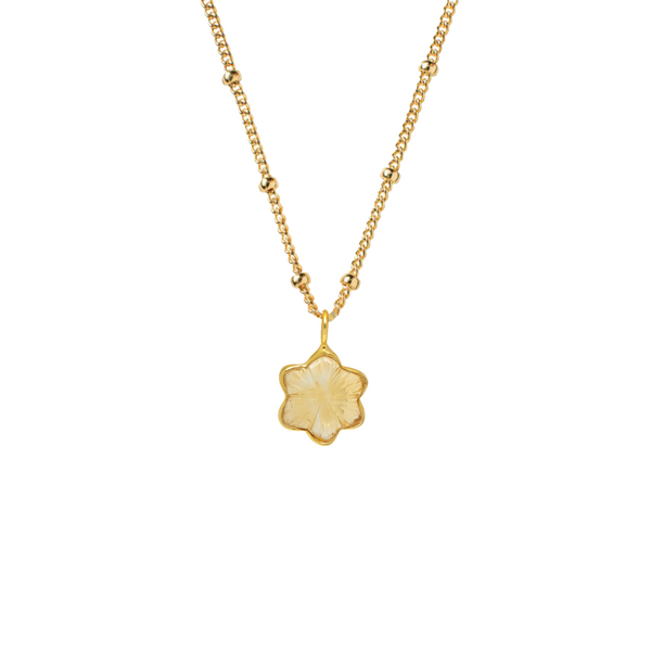 Carved Star Pendant Citrine On Biba Chain
