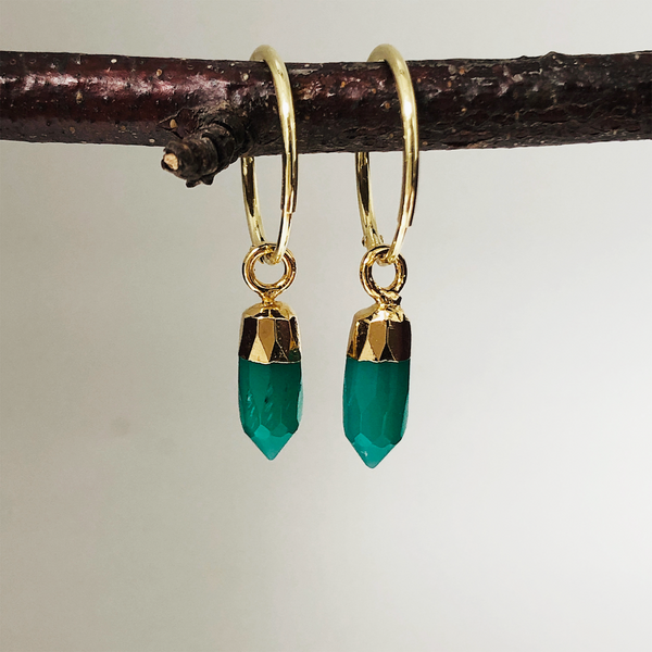 Cora Creole with Mini Point Green Onyx - Mirabelle Jewellery