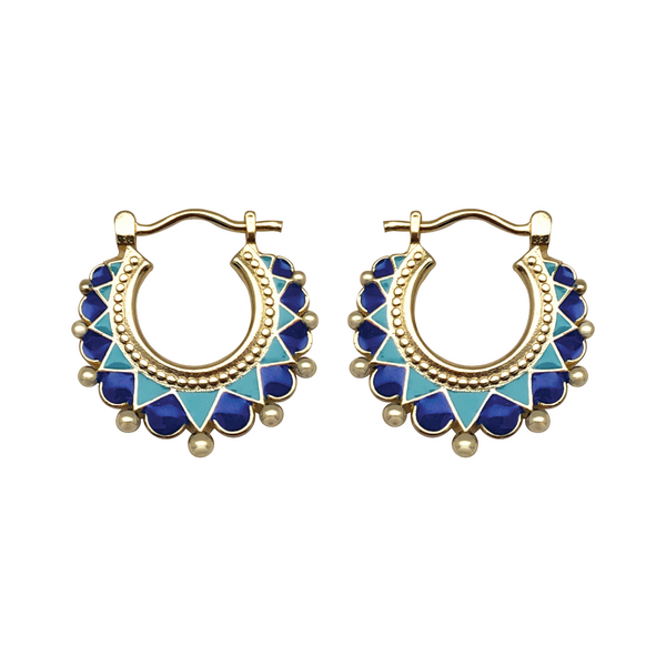 Creole Enamel Earrings Blue - Mirabelle Jewellery