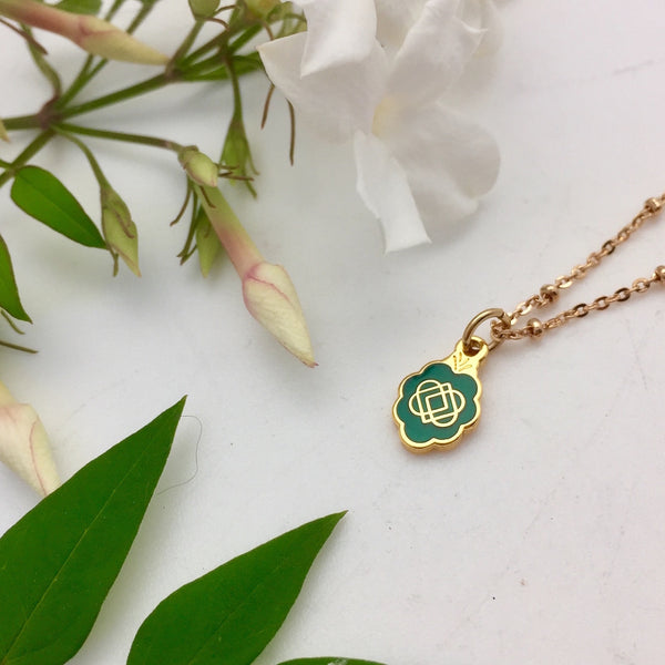 Double Sided Infinity Spirit Enamel Medal Green - Mirabelle Jewellery