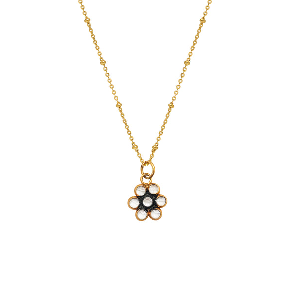 Polki Diamond  Flower Pendant - Mirabelle Jewellery