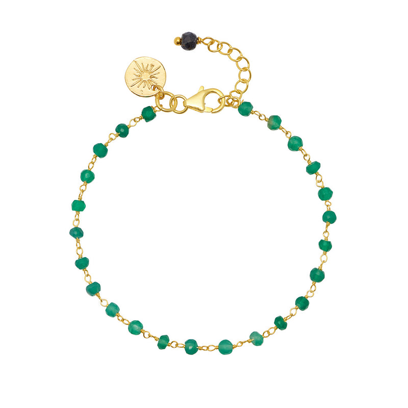 Green Onyx Bracelet with Sapphire - Mirabelle Jewellery
