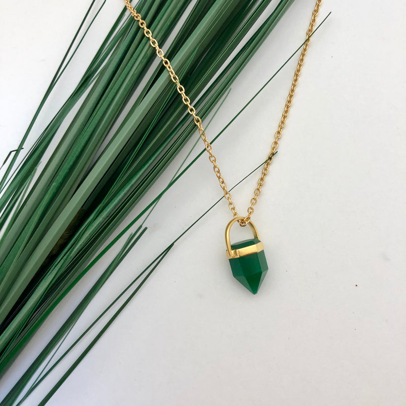 Short Green Onyx Point Pendant - Mirabelle Jewellery