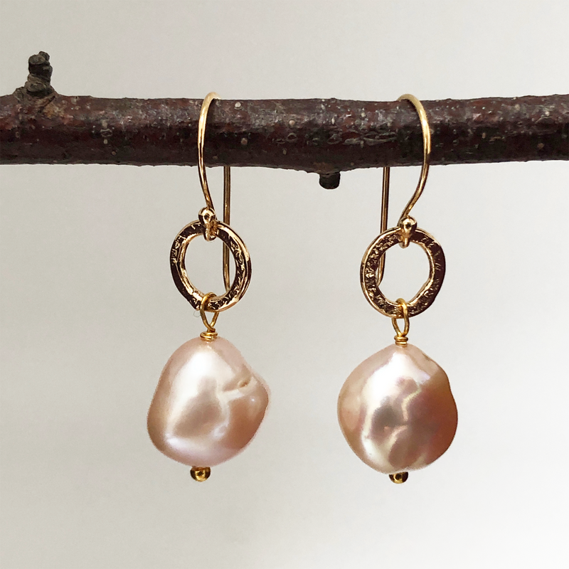 Gita Earrings Large Baroque Pink Pearl