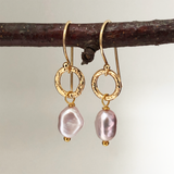 Gita Earrings Small Baroque Pink Pearl