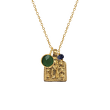 Goddess Lakshmi Medal with Emerald and Sapphire or Ruby