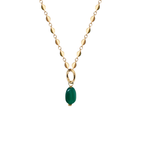 Green Onyx Pebble on Rose Chain