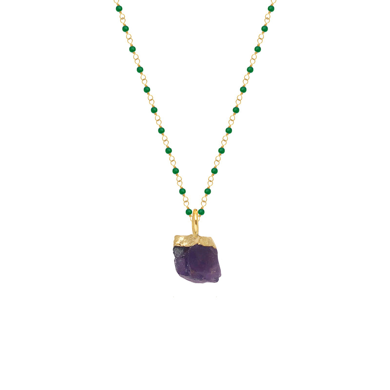 Green Onyx Rosary with Raw Amethyst Pendant - Mirabelle Jewellery