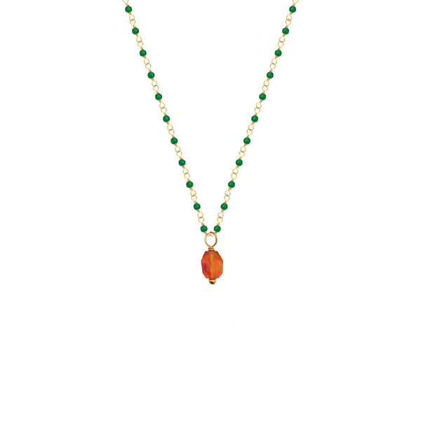 Green Onyx Rosary with Facetted Carnelian Pendant - Mirabelle Jewellery