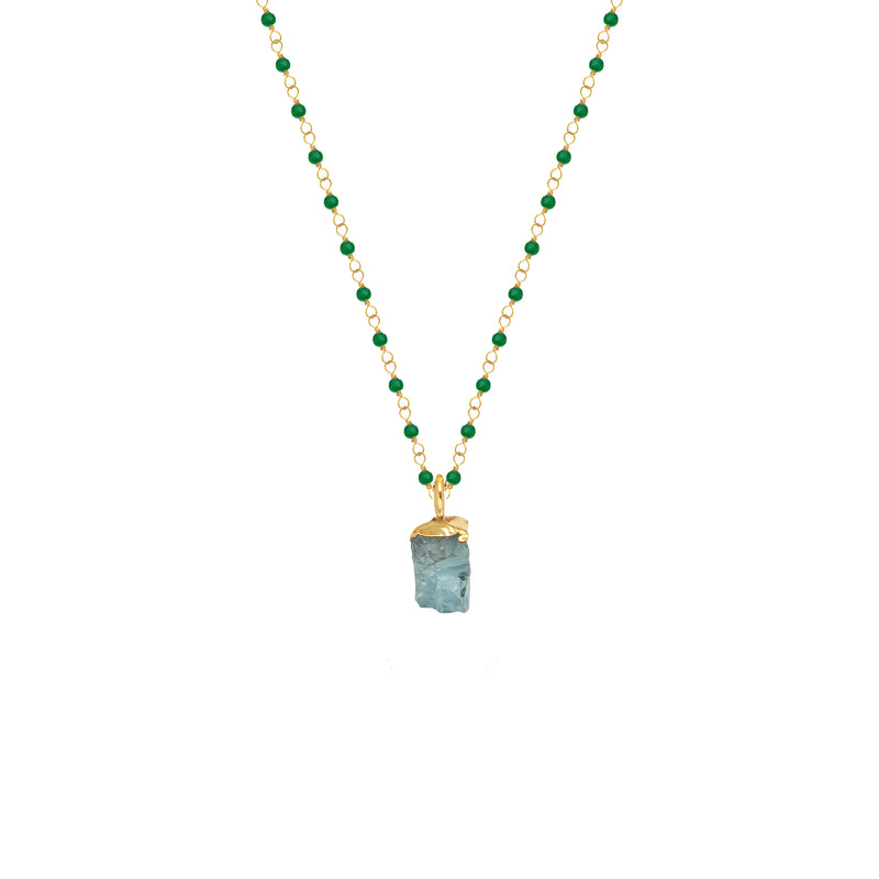 Green Onyx Rosary with Raw Aquamarine Pendant - Mirabelle Jewellery