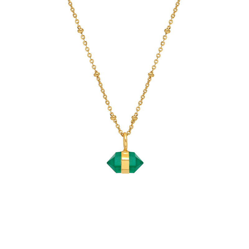 Horizontal Mini Double Point Green Onyx Pendant - Mirabelle Jewellery