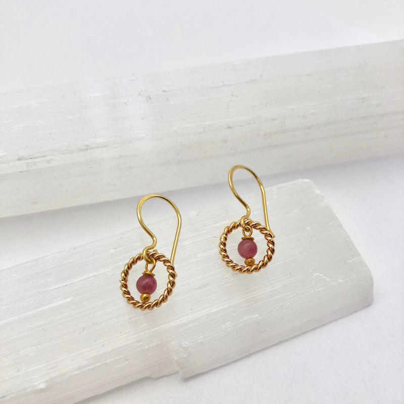 Alexis Earrings Pink Tourmaline - Mirabelle Jewellery