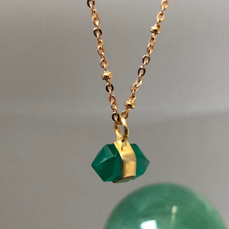 Horizontal Mini Double Point Green Onyx Pendant