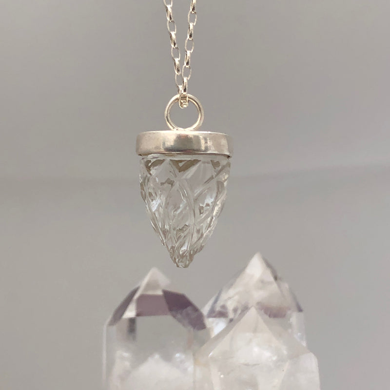 Carved Pendulum Sterling Silver on Oval Baby Belcher