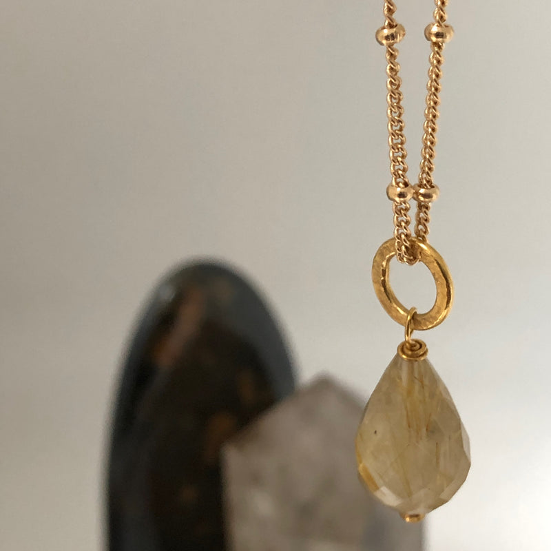 Gita Pendant Golden Rutil Quartz on Biba
