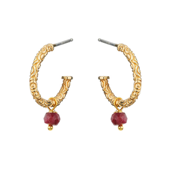 Iris Creole Earrings Ruby - Mirabelle Jewellery