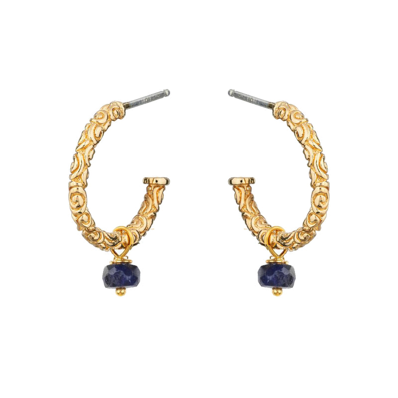 Iris Creole Earrings Sapphire - Mirabelle Jewellery