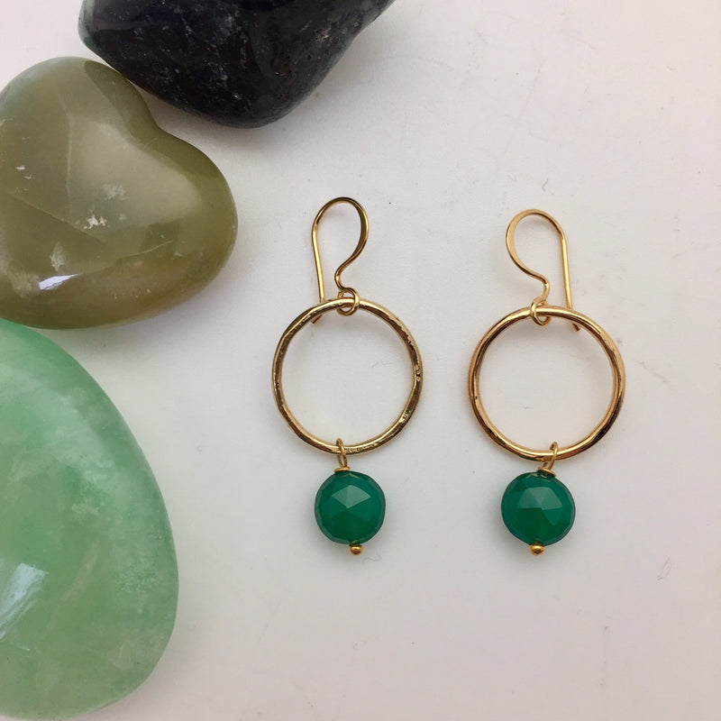 Jacqui Earrings Green Onyx - Mirabelle Jewellery