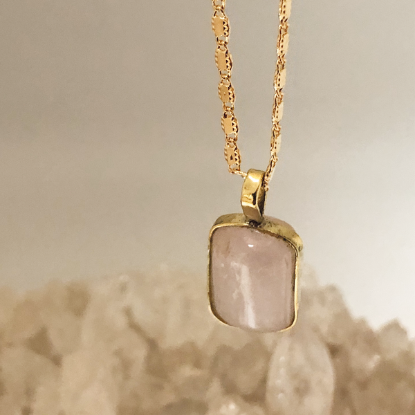 Kunzite Bezeled Pendant On Valerie Chain, Unique