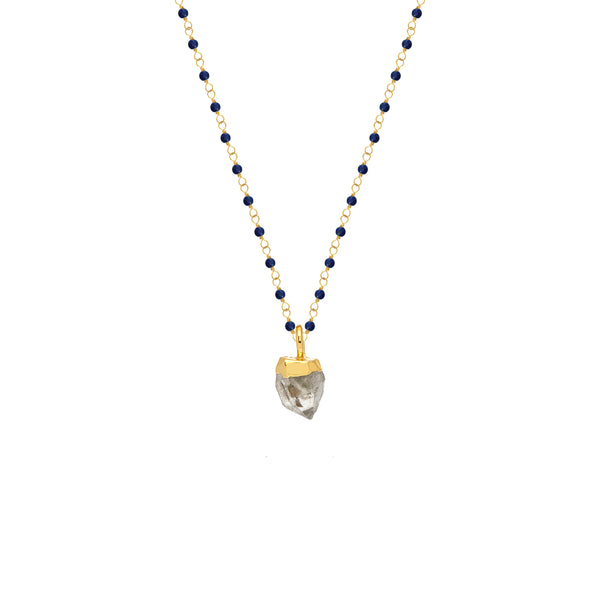 Lapis Rosary with Herkimer Diamond Pendant - Mirabelle Jewellery