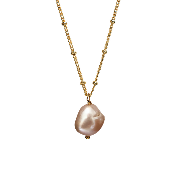 Large Baroque Pink Pearl on Biba Chain