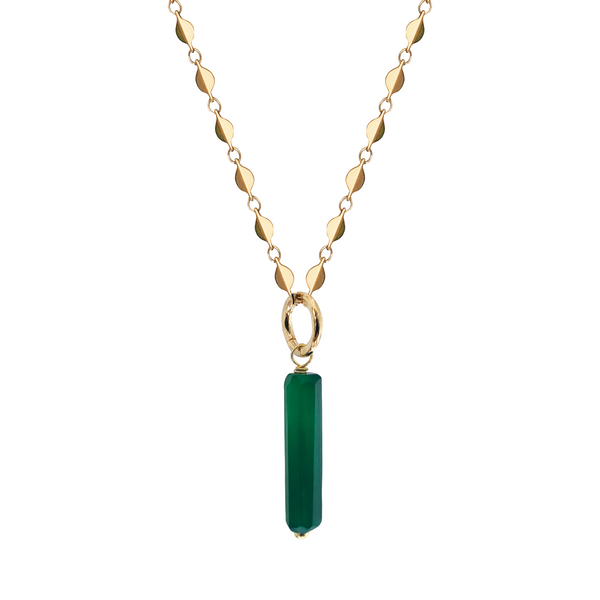Unique Long Green Onyx Baguette on Rose Chain