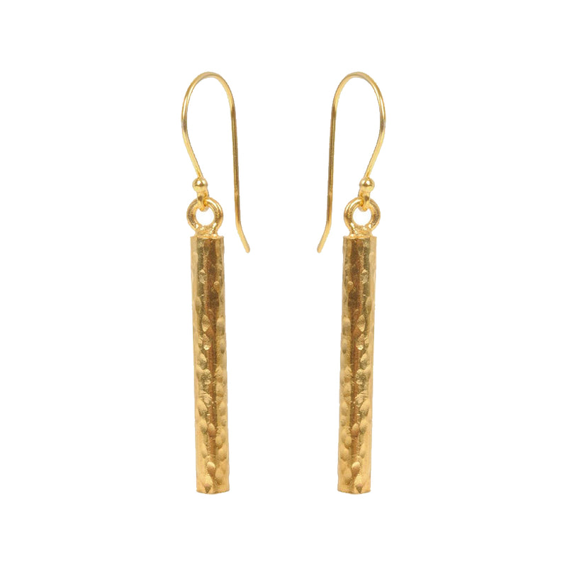 Long Hammered Bar Earrings - Mirabelle Jewellery