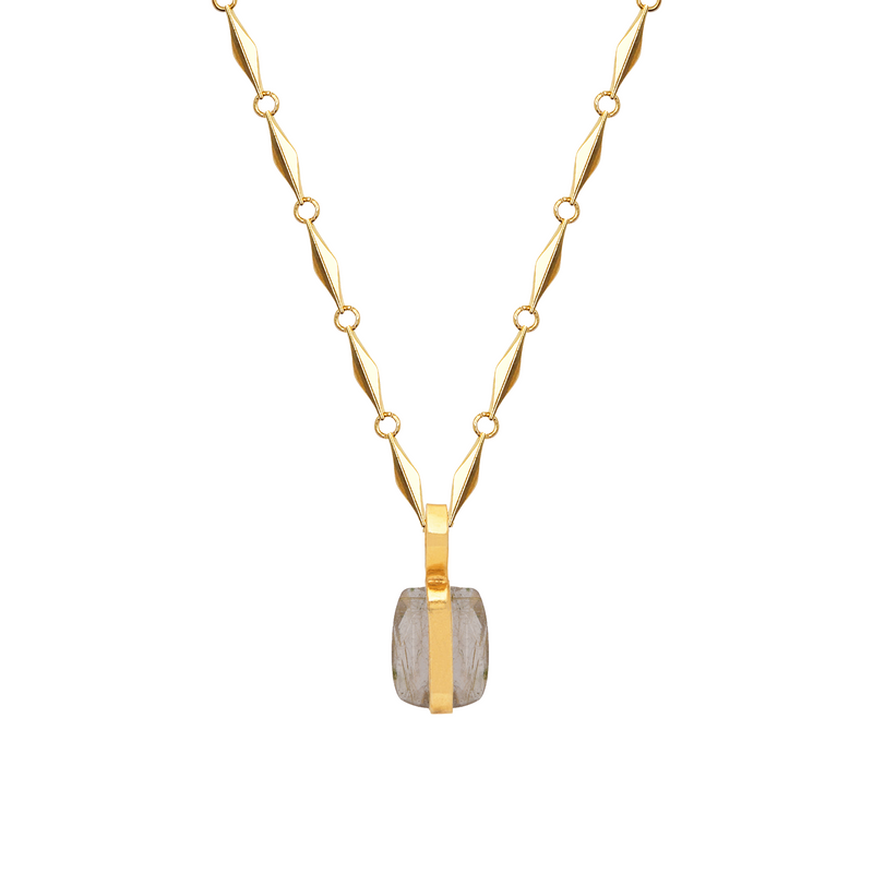 Paola Chain with Golden Rutil Vertical Pendant