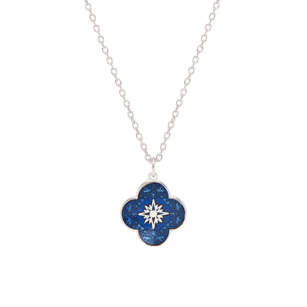 Small Petal Star Cross Enamel Medal Sterling Silver