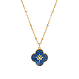Petal Star Cross Enamel Medal Royal Blue - Mirabelle Jewellery