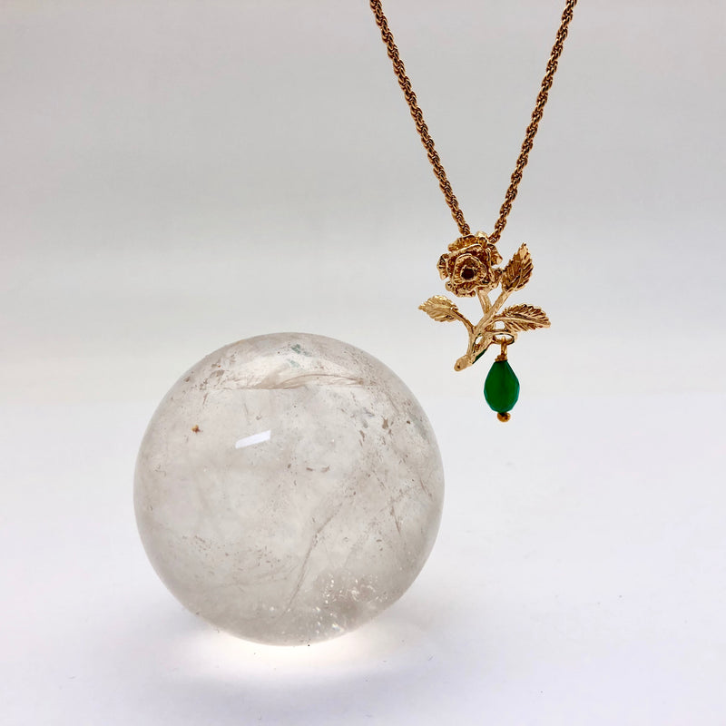 Rose Pendant with Green Onyx - Mirabelle Jewellery