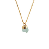 Raw Aquamarine Pendant on Biba Chain