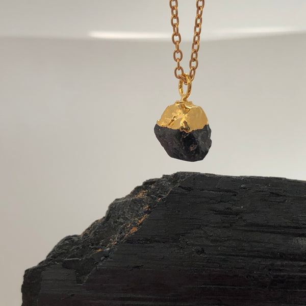 Raw Black Tourmaline Pendant - Mirabelle Jewellery