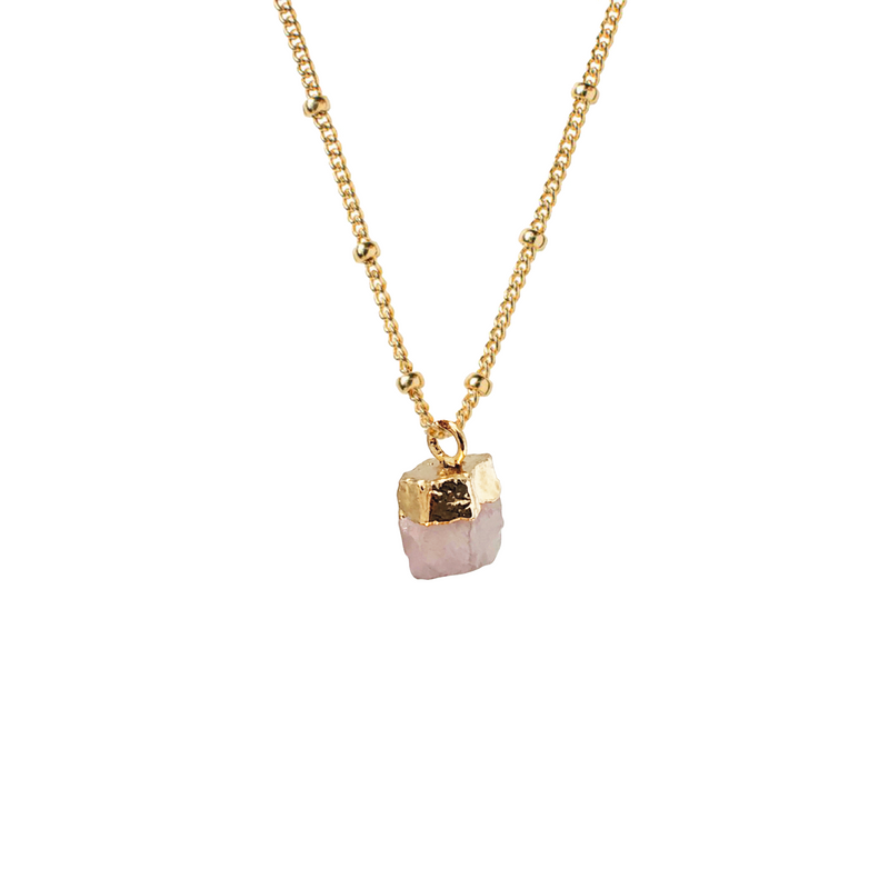 Raw Rose Quartz Pendant on Biba Chain