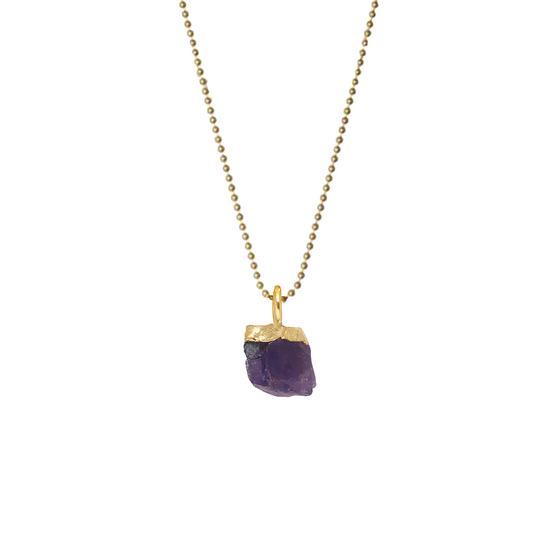 Raw Mineral on Thin Ball Chain - Mirabelle Jewellery