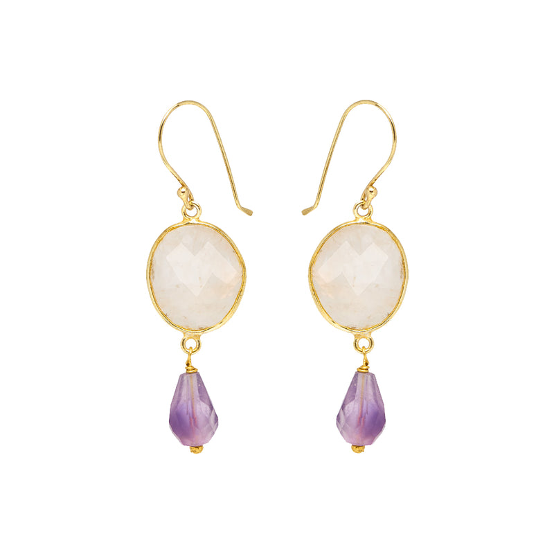 Rosa Earrings Rose Quartz and Amethyst - Mirabelle Jewellery