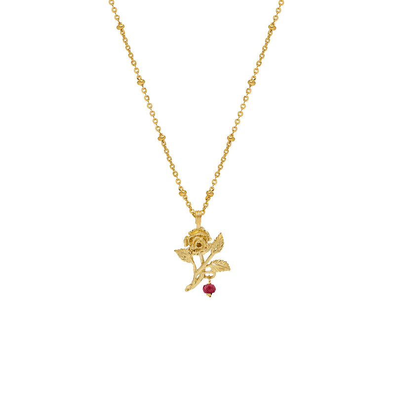 Rose Pendant with Ruby - Mirabelle Jewellery