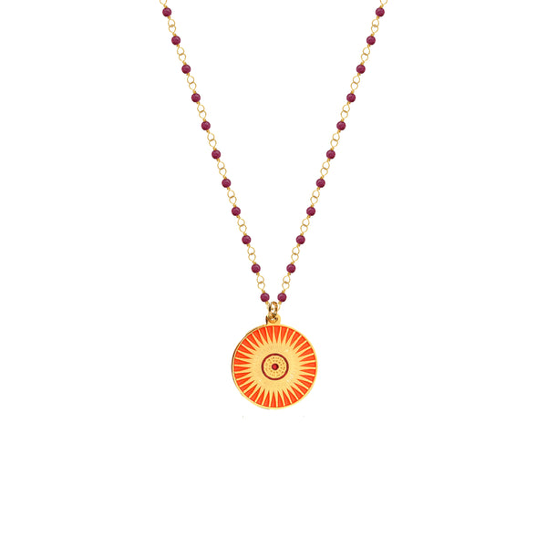 Ruby Rosary with Sun Medal - Mirabelle Jewellery