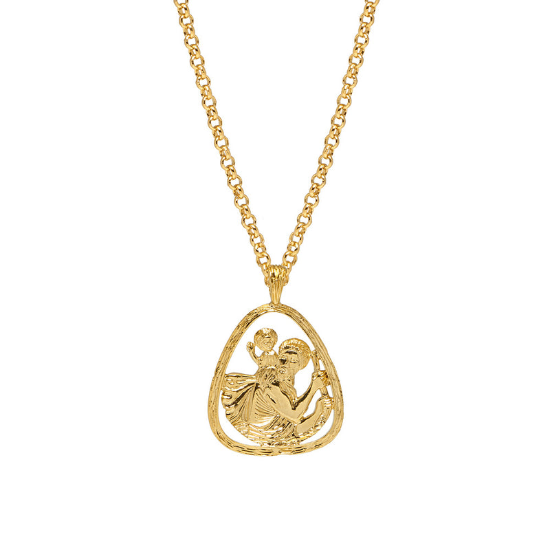 St Christopher Large Triangle Pendant - Mirabelle Jewellery