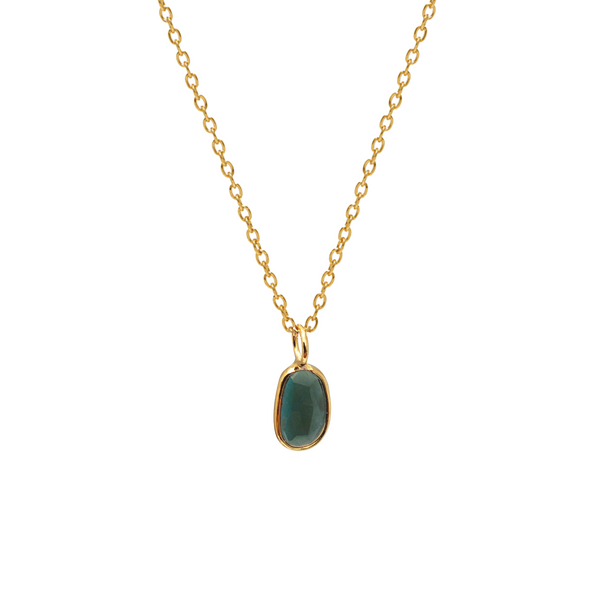 Tiny Green Tourmaline Pendant 9ct Gold Cable Chain