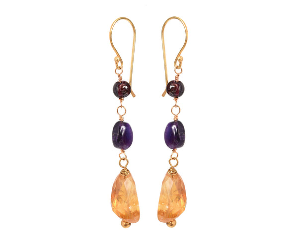 Tisha Three Stone Earrings Garnet, Amethyst and Citrine - Mirabelle Jewellery