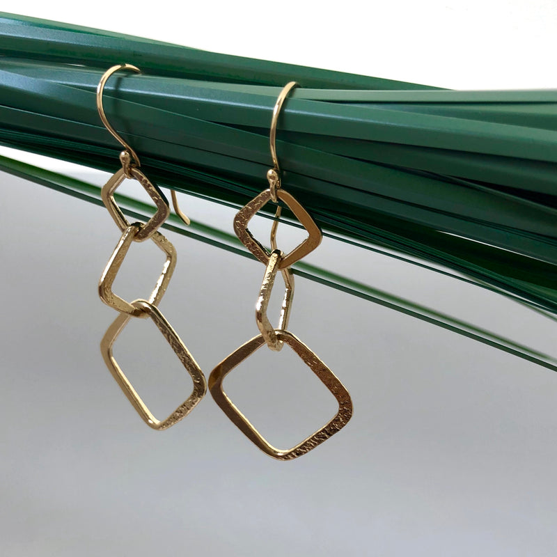 Trio Square Earrings - Mirabelle Jewellery