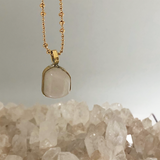 Unique Kunzite Bezeled Pendant On Bubble Chain