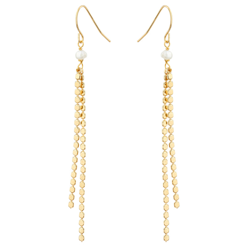 Mirror Chain Drop Earrings with Freshwater Pearl - Mirabelle Jewellery