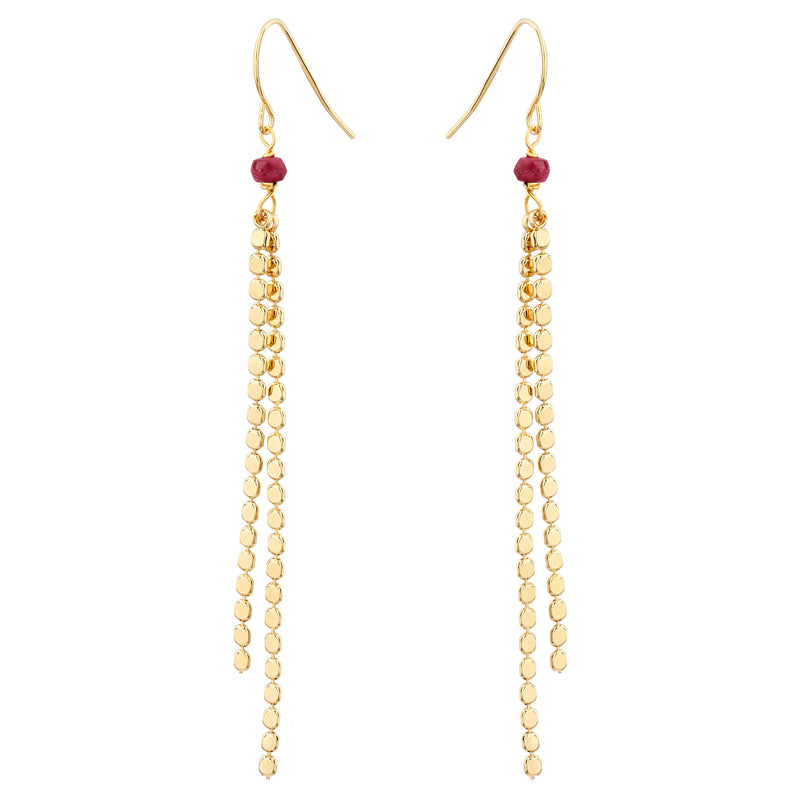 Mirror Chain Drop Earrings with Ruby - Mirabelle Jewellery