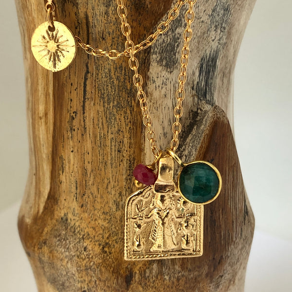 Goddess Lakshmi Medal with Emerald and Sapphire or Ruby - Mirabelle Jewellery