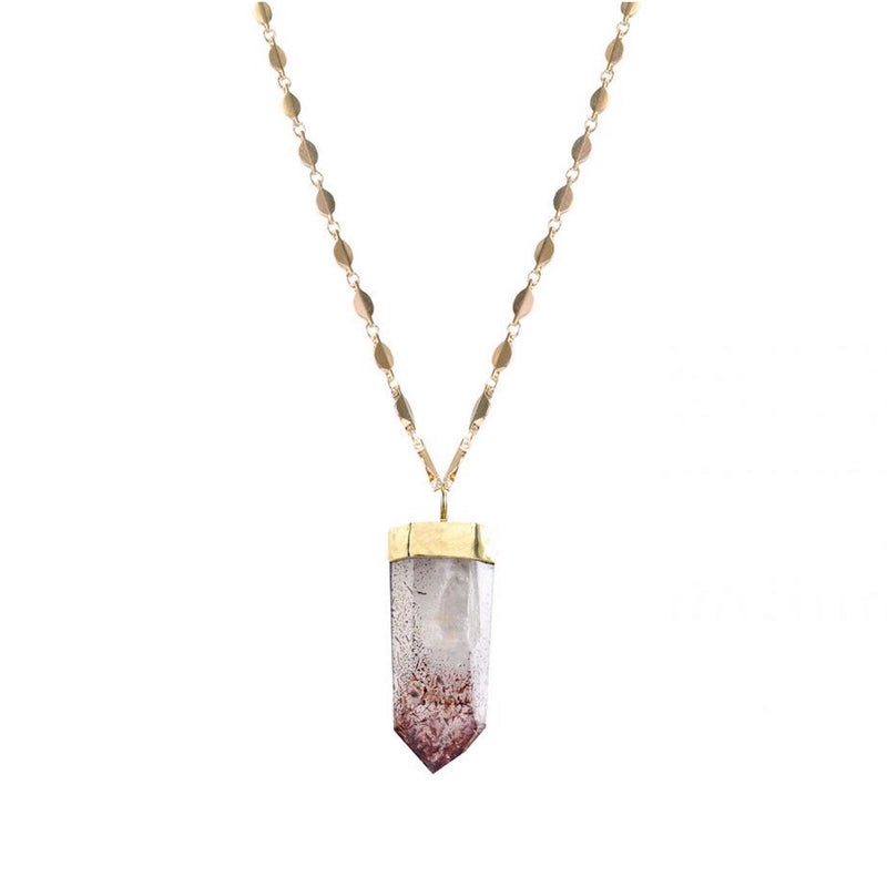 Large Harlequin Quartz Pendant on Rose Chain - Mirabelle Jewellery